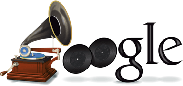 Google Logo: 160th Birthday of Emil Berliner - German inventor of the gramophone