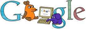 Google Logo: Die Sendung mit der Maus's website's Birthday - A children program on German television with a mouse and an elephant