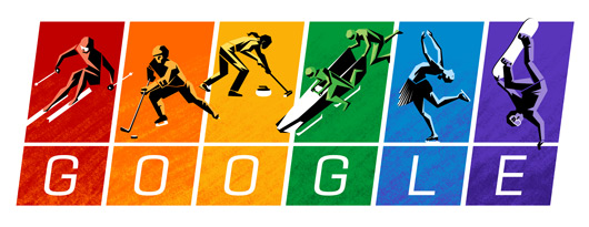 rainbow google doodle for olympic games