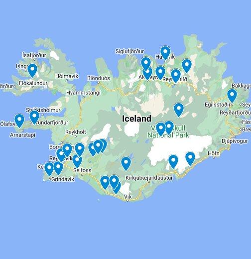 Sehenswürdigkeiten in Island – Google My Maps