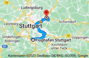 Karte von Flughafen Stuttgart (STR), Flughafenstraße 32, 70629 Stuttgart nach Beinsteiner Str. 161, 71334 Waiblingen
