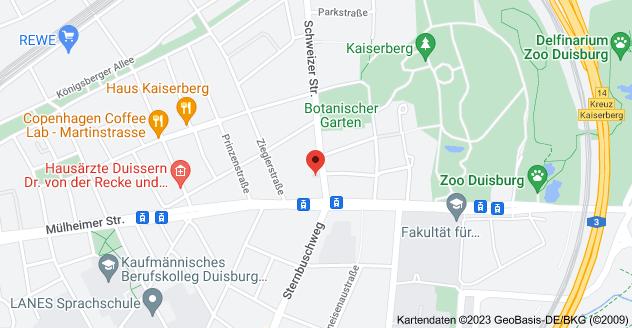 Karte von Schweizer Str. 9, 47058 Duisburg