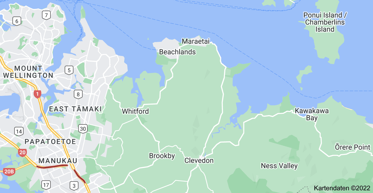 Karte von Pacific Coast Highway, Auckland
