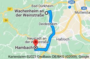 Karte von Wachenheim an der Weinstraße, 67157 nach Hambach an der Weinstraße, 67434